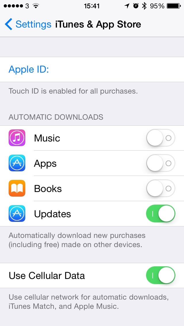iOS iTunes App Store Settings